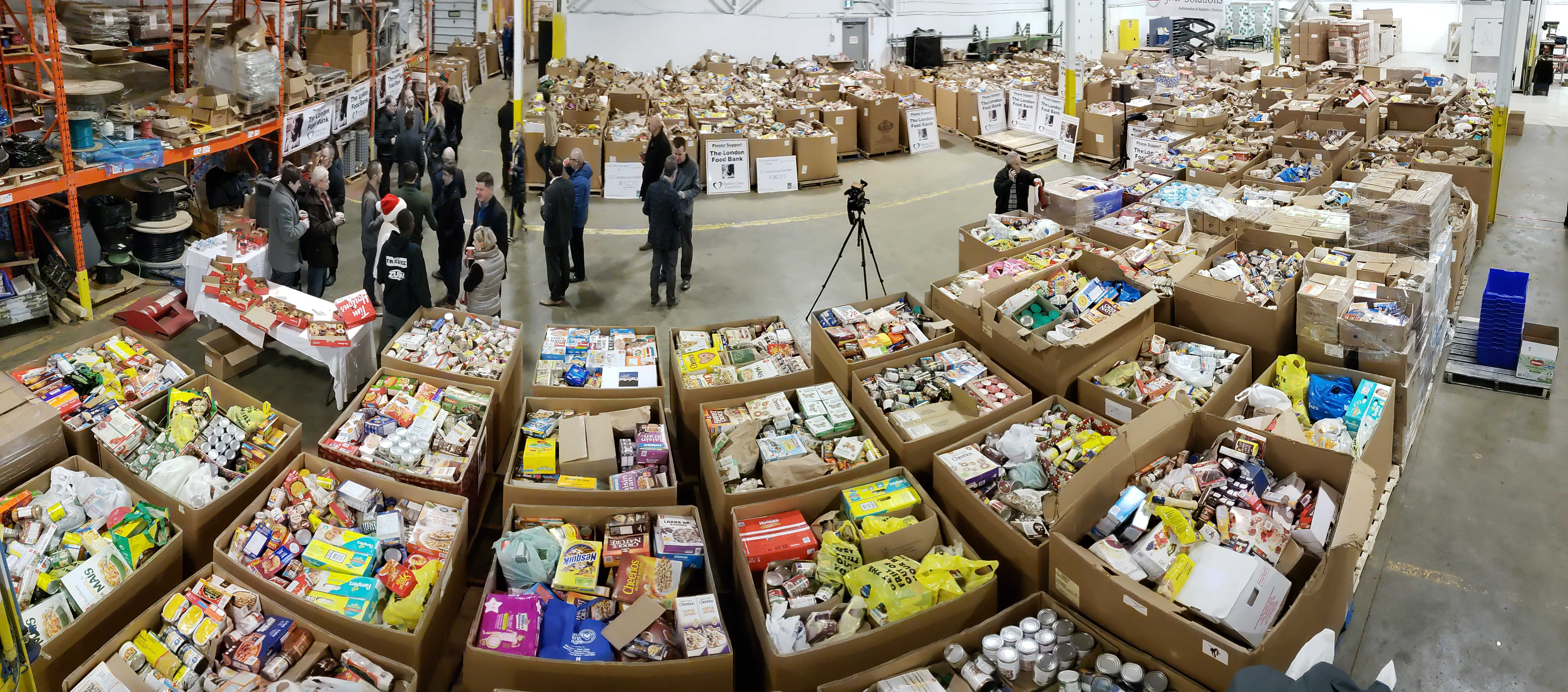 A panorama shot of the food collected during the 2018 Business Cares Food Drive